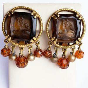 Vintage Root Beer Lucite Cameo Clip Earrings